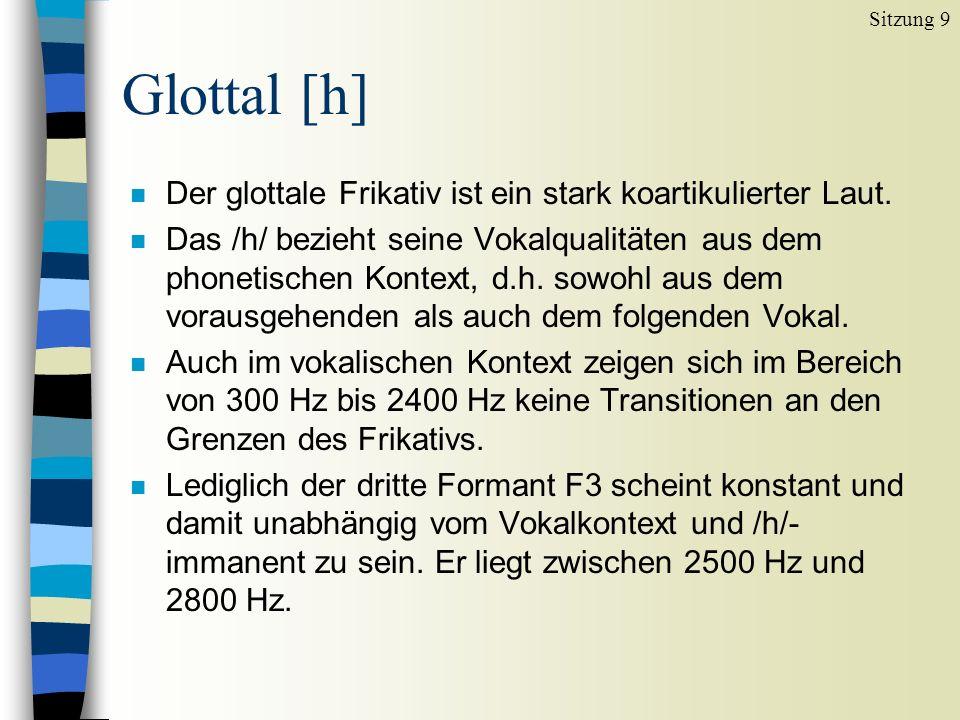 Glottal [h] Der glottale Frikativ ist ein stark koartikulierter Laut.